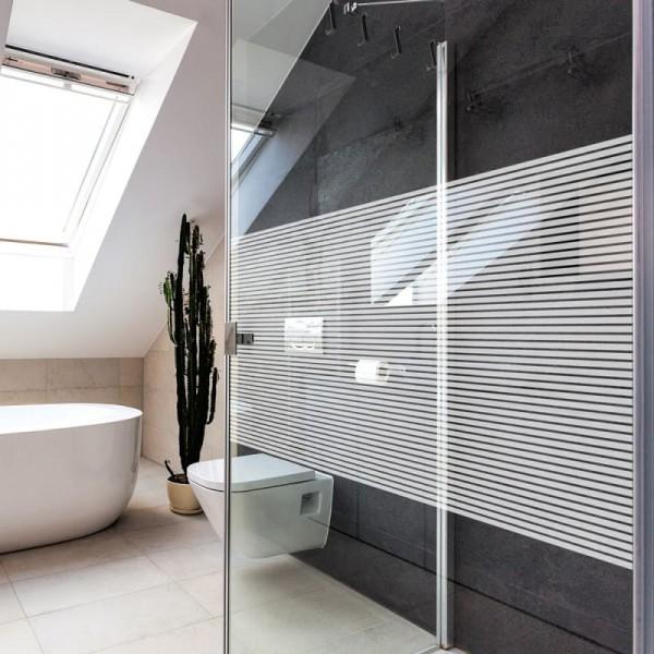 Glasdekorfolie Dusche weiße Streifen 10 mm glaenzend