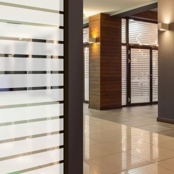 Glasdekorfolie Sichtschutz Streifen 44 mm matt